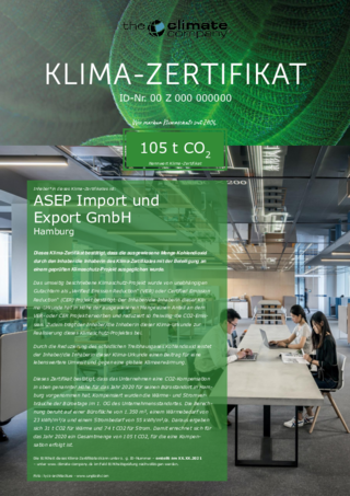 Klima-Zertifikat zur Kompensation